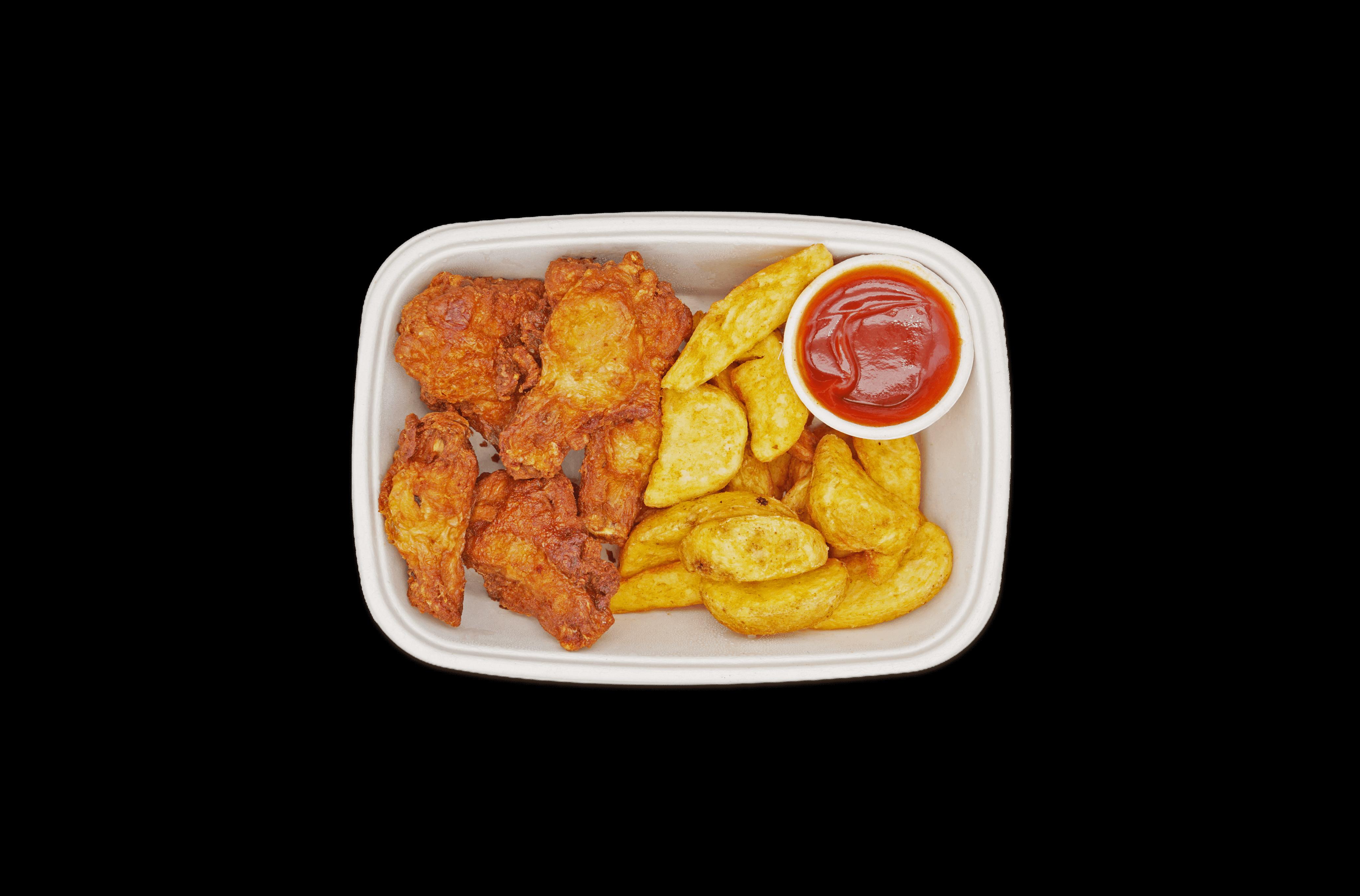 Würzige Chickenwings mit Kartoffelecken