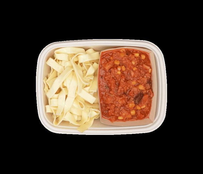Chili Sin Carne mit Tagliatelle