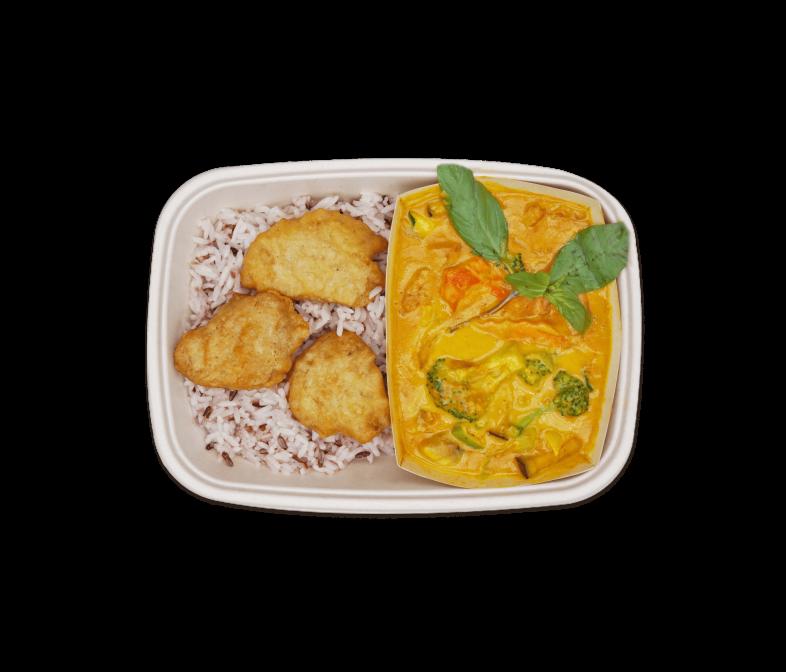 Gelbes Curry mit veganem Huhn