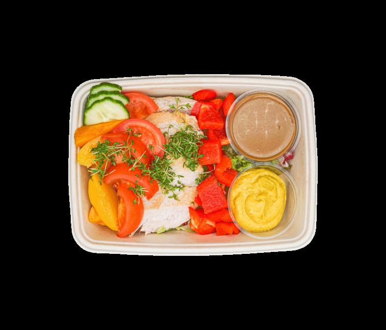 Grilled Chicken Salat mit Curry-Mayo