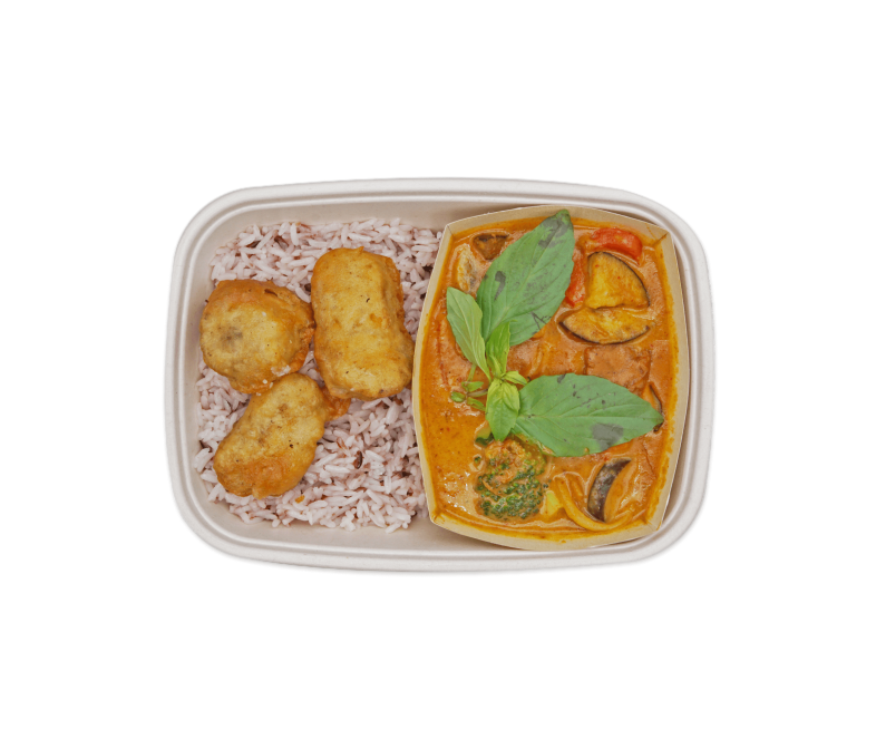 Rotes Curry mit veganem Huhn