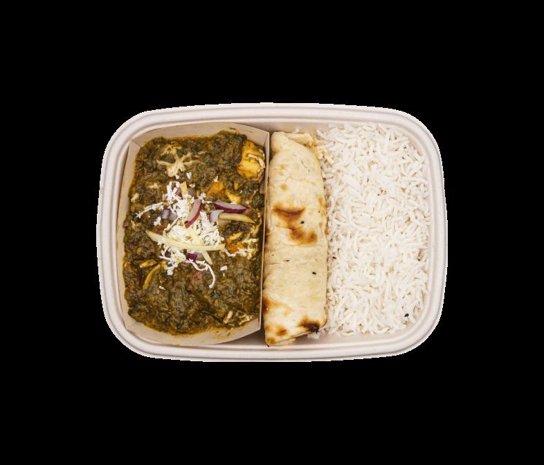 Spinat Curry mit hausgemachtem Rahmkäse Palak Paneer